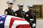 U.S. Marines stand watch over the flag-drapped casket of Lance Cpl. Daniel Chaires, 20, at the Chaires United Methodist Church on Nov. 2, 2006, in Chaires, Florida outside of Tallahassee.  Chaires was killed in Iraq.
