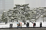 February 14, 2014, Tokyo, Japan - Sight-seers hurry their way in the falling snow on the Imperial Palace outer garden in Tokyo on Friday, February 14, 2014. Two weeks in a row, the nation's capital was blanketed with inches of snow as a low-pressure front hit a wide swath along the Pacific coasts, disrupting land, sea and air transportation services.  (Photo by Natsuki Sakai/AFLO)