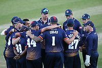 Essex players huddle during Essex Eagles vs Premier Leagues XI, Friendly Match Cricket at The Cloudfm County Ground on 2nd July 2018