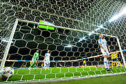 SOLNA, SWEDEN - OCTOBER 16: John Guidetti of Sweden scores during the UEFA International Friendly match between Sweden and Slovakia at Friends Arena on October 16, 2018 in Solna, Sweden. Photo by David Lidstrom/LP<br /> ***BETALBILD***