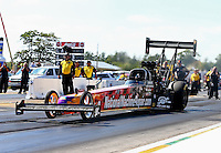 Aug. 17, 2013; Brainerd, MN, USA: NHRA top fuel dragster driver Luigi Novelli during qualifying for the Lucas Oil Nationals at Brainerd International Raceway. Mandatory Credit: Mark J. Rebilas-
