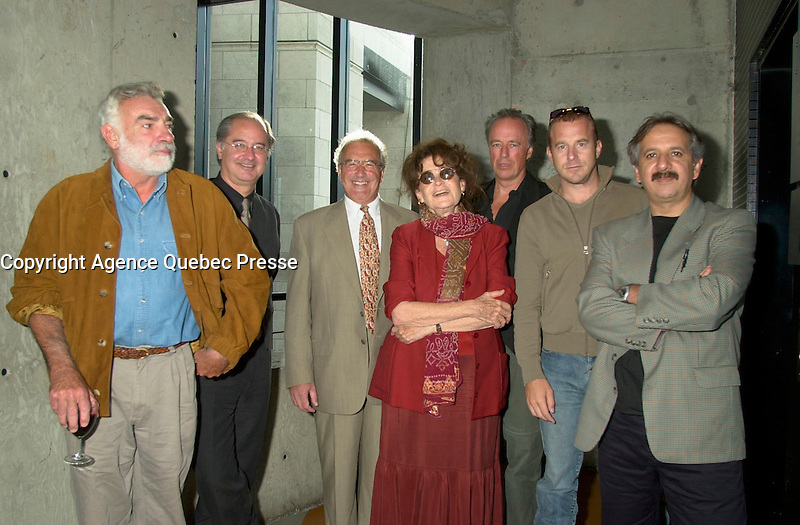 August 23,  2002, Montreal, Quebec, Canada<br /> <br /> Member of  the Jury of the 2002 Montreal World Films Festival, held Aug 22 to Sept 2 2002  in  Montreal, Quebec, Canada, pose at Telefilm Canada Reception, August 23 2002<br /> <br /> Left to Right :<br /> Antonio Betancor, Spanish Actor<br /> Richard Stursberg, Executive Director, Telefilm Canada<br /> Unknown man (not Jury member)<br /> Nina Companeez, French Film Maker and Scenarist<br /> Charles Biname, Quebec Film Maker<br /> Heino Ferch, German Actor and<br /> Majid Majidi, Iranian Film maker and Jury President