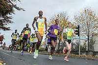 26/10/2015; 2015 SSE Airtricity Dublin Marathon, St Laurence's Road, Dublin. <br /> Francis Ngare, Alemu Gemechu and Stepan Kiselev<br /> Picture credit: Tommy Grealy/actionshots.ie.