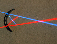 REFLECTION OF RED & BLUE LIGHT OFF CONCAVE MIRROR<br />
