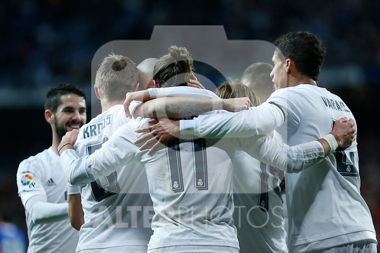 Real Madrid´s Gareth Bale celebrates a goal with his team mates during 2015/16 La Liga match between Real Madrid and Deportivo de la Coruna at Santiago Bernabeu stadium in Madrid, Spain. January 09, 2015. (ALTERPHOTOS/Victor Blanco)
