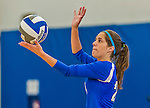 18 October 2015: Yeshiva University Maccabee Defensive Specialist and Outside Hitter Carol Jacobson, a Senior from Seattle, WA, serves during game action against the Sage College Gators, at the Peter Sharp Center, College of Mount Saint Vincent, in Riverdale, NY. The Gators defeated the Maccabees 3-0 in the NCAA Division III Women's Volleyball Skyline matchup. Mandatory Credit: Ed Wolfstein Photo *** RAW (NEF) Image File Available ***
