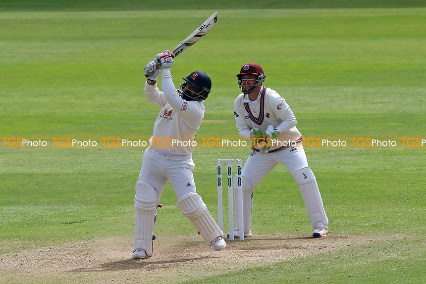 Ashar Zaidi hits six runs for Essex as Steven Davies looks on from behind the stumps during Somerset CCC vs Essex CCC, Specsavers County Championship Division 1 Cricket at The Cooper Associates County Ground on 15th April 2017