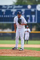 GCL Yankees West starting pitcher Pedro Barrios (26) looks in for the sign during the second game of a doubleheader against the GCL Yankees East on July 19, 2017 at the Yankees Minor League Complex in Tampa, Florida.  GCL Yankees West defeated the GCL Yankees East 3-1.  (Mike Janes/Four Seam Images)