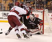 Tyler Moy (Harvard - 2), Garrett Cecere (NU - 29), Ryan Ruck (NU - 41) - The Harvard University Crimson defeated the Northeastern University Huskies 4-3 in the opening game of the 2017 Beanpot on Monday, February 6, 2017, at TD Garden in Boston, Massachusetts.