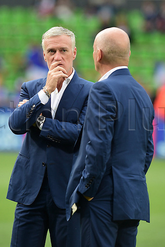 04.06.2016. Stade Saint Symphorien, Metz, France. International football freindly,France versus Scotland.  Didier Deschamps (France) with Guy Stephan - joint trainer (france)
