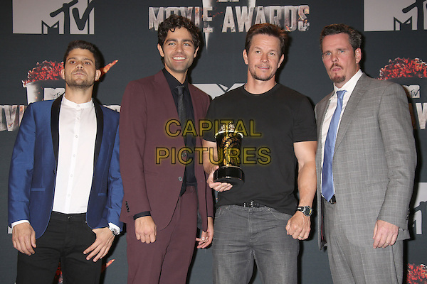 LOS ANGELES, CA - APRIL 13: Jerry Ferrara, Adrien Grenier, Mark Wahlberg and Kevin Dillon in the press room at the 2014 MTV Movie Awards at Nokia Theatre L.A. Live on April 13, 2014 in Los Angeles, California. <br /> CAP/MPI/JO<br /> &copy;Janice Ogata/MPI/Capital Pictures