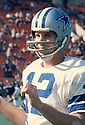 Dallas Cowboys Roger Staubach (12) sideline portrait. Roger Staubach was inducted to the Pro Football Hall of Fame in 1985.
