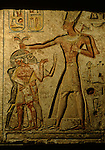 Painted limestone relief of Ramses II smiting captives, originally from structure at Memphis, captives are Nubian, Libyan and Syrian, Egyptian Museum, Cairo