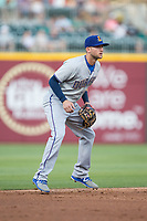 Durham Bulls third baseman Jake Hager (2) on defense against the Charlotte Knights at BB&T BallPark on May 15, 2017 in Charlotte, North Carolina. The Knights defeated the Bulls 6-4.  (Brian Westerholt/Four Seam Images)