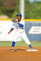 D.J. Burt (2) of the Burlington Royals waits for a throw at second base during the game against the Greeneville Astros at Burlington Athletic Park on June 30, 2014 in Burlington, North Carolina.  The Royals defeated the Astros 9-8. (Brian Westerholt/Four Seam Images)