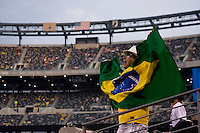 A Brazil fan cheers for his team at the start of an international friendly at the New Meadowlands Stadium in East Rutherford, NJ. Brazil defeated the USMNT, 2-0.
