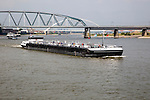 Large commercial barge on River Waal, Nijmegen, Gelderland, Netherlands