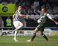 Kenny McLean (left) and Leigh Griffiths in the St Mirren v Hibernian Clydesdale Bank Scottish Premier League match played at St Mirren Park, Paisley on 18.8.12.