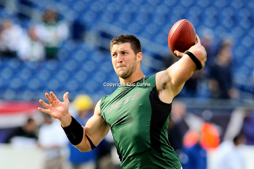 October 21, 2012 New York Jets quarterback Tim Tebow (15) warms up before the New England Patriots vs New York Jets game played at Gillette Stadium in Foxborough, Massachusetts.   Eric Canha/CSM