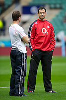 Andy Farrell, England Backs Coach (right), stands with Mike Catt, England Attacking Skills Coach, during the Cook Cup between England and Australia, part of the QBE International series, at Twickenham on Saturday 17th November 2012 (Photo by Rob Munro)