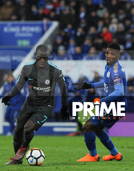 Ngolo Kante of Chelsea turns Kelechi Iheanacho of Leicester City during the FA Cup QF match between Leicester City and Chelsea at the King Power Stadium, Leicester, England on 18 March 2018. Photo by Stephen Buckley / PRiME Media Images.