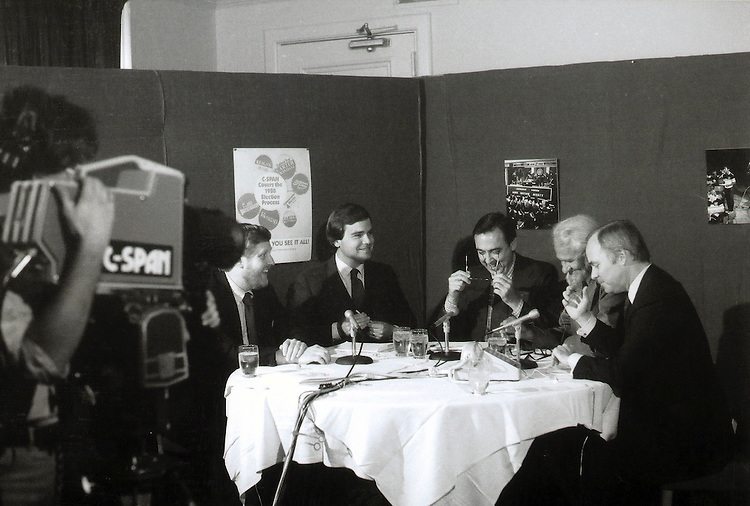 Here's the original call-in show from October 7, 1980 from the National Press Club in Washington.  From L - R in the photo are:  .Michael Kelly, Pat Gushman, Don West and Tack Nail and of course, Brian Lamb on the far right These were TV trade reporters at the time who joined Brian for the first call-in following a speech at the NPC by then-FCC Chair Charles Ferris.  .