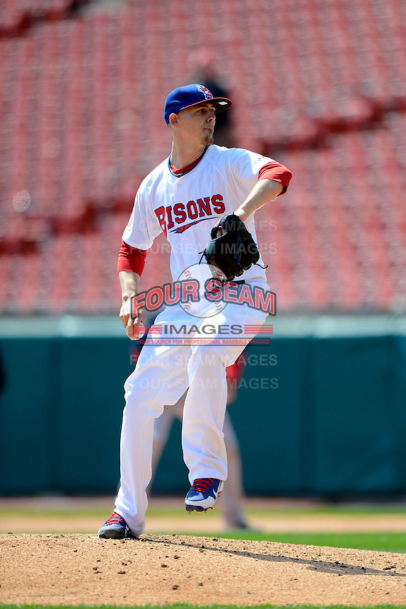 Buffalo Bisons pitcher Mickey Storey #7 during the first game of a doubleheader against the Pawtucket Red Sox on April 25, 2013 at Coca-Cola Field in Buffalo, New York.  Pawtucket defeated Buffalo 8-3.  (Mike Janes/Four Seam Images)