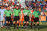 06 June 2015: Match Officials. From left: Assistant Referee Mark Buda, Fourth Official Dustin Thorne, Referee Mark Kadlecik, and Assistant Referee Jimmy Brooks. The Carolina RailHawks hosted Minnesota United FC at WakeMed Stadium in Cary, North Carolina in a North American Soccer League 2015 Spring Season match. The game ended in a 1-1 tie.