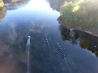 Rowing through the fog on the Rivanna River in Charlottesville, Va.  Photo/Andrew Shurtleff Photography, LLC