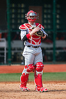 Hartford Hawks catcher Joe Roberti (16) during infield practice prior to the game against the Virginia Cavaliers at The Ripken Experience on February 27, 2015 in Myrtle Beach, South Carolina.  The Cavaliers defeated the Hawks 5-1.  (Brian Westerholt/Four Seam Images)