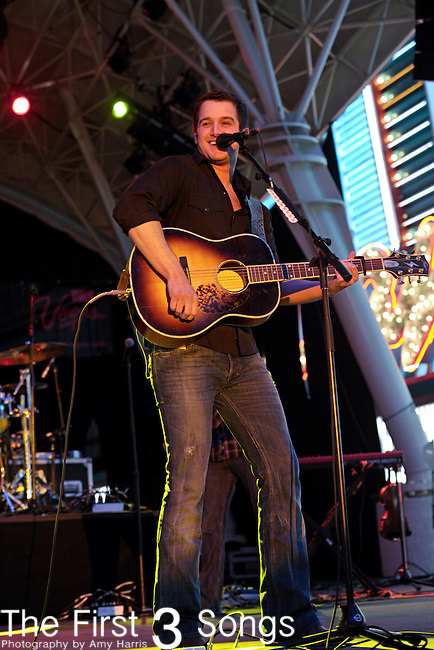 Easton Corbin performs during the ACM Concerts at Fremont Street Experience Event in Las Vegas, Nevada on April 2, 2011.