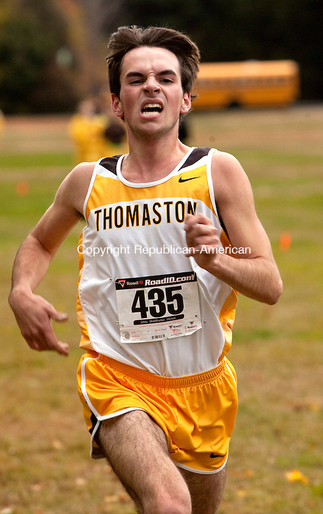 THOMASTON, CT, 22 OCTOBER 2010-102210JS02-ACTION MAN-Thomaston's Blake Fenwick finished first in the Berkkshire League Cross Country championships Friday at Black Rock Park in Thomaston. <br />  Jim Shannon Republican-American