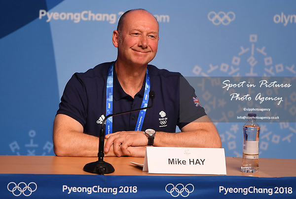 Mike Hay (TeamGB Chef de Mission for Pyeongchang2018). TeamGB final press conference. Main press centre. Alpensia. Pyeongchang2018 winter Olympics. Republic of Korea. 25/02/2018. ~ MANDATORY CREDIT Garry Bowden/SIPPA - NO UNAUTHORISED USE - +44 7837 394578