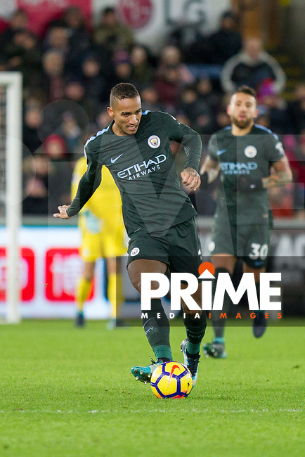 Danilo of Manchester City during the EPL - Premier League match between Swansea City and Manchester City at the Liberty Stadium, Swansea, Wales on 13 December 2017. Photo by Mark  Hawkins / PRiME Media Images.