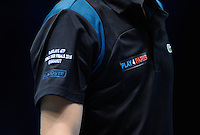 Close-up of the 'Play 4 Paris' logo on the shirts worn by Pierre-Hugues Herbert (FRA) / Nicolas Mahut (FRA) during Day Two of the Barclays ATP World Tour Finals 2015 played at The O2, London on November 16th 2015
