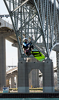 Matt Mercier, of Sarnia, kite surfing under the Blue Water Bridge with his friend Jim Curran, of Point Edward  (not shown) during a warm and windy November day. &quot;It's a perfect day for kite surfing,&quot; said Curran &quot;The winds are out of the southwest and there's not too many boats to deal with.&quot; <br /> <br /> The pair have been kite surfing for the past 10 years from Mitchell's Bay to Kettle Point, plus vacation time in the Caribbean.