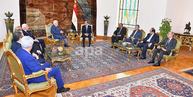Egyptian President Abdel Fattah al-Sisi meets with Palestinian President Mahmoud Abbas in Cairo, Egypt, on July 9, 2017. Photo by Egyptian President Office