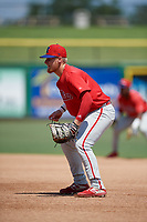Philadelphia Phillies first baseman Rudy Rott (14) during an Instructional League game against the Toronto Blue Jays on September 17, 2019 at Spectrum Field in Clearwater, Florida.  (Mike Janes/Four Seam Images)