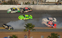 Feb 7, 2009; Daytona Beach, FL, USA; ARCA RE/MAX Series driver Patrick Sheltra (60) drives through a multi car accident involving Chris Cockrum (29) Matt Carter (46) Eddie Mercer (51) Mario Gosselin (12) and Justin Lofton (6) during the Lucas Oil Slick Mist 200 at Daytona International Speedway. Mandatory Credit: Mark J. Rebilas-
