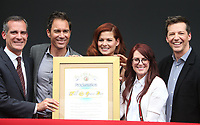 UNIVERSAL CITY, CA - AUGUST 02: Eric McCormack, Debra Messing, Megan Mullally, Sean Hayes, Eric Garcetti<br /> , At 'Will &amp; Grace' Start Of Production Kick Off Event And Ribbon Cutting Ceremony At Universal City Plaza  In California on August 02, 2017. Credit: FS/MediaPunch
