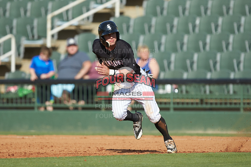 Tyler Frost (1) of the Kannapolis Intimidators takes off for second base against the Hagerstown Suns at Kannapolis Intimidators Stadium on May 6, 2018 in Kannapolis, North Carolina. The Intimidators defeated the Suns 4-3. (Brian Westerholt/Four Seam Images)