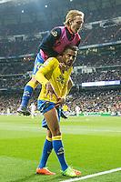 Prince Boateng, Alen Halilovic  of UD Las Palmas celebrates after scoring a goal  during the match of Spanish La Liga between Real Madrid and UD Las Palmas at  Santiago Bernabeu Stadium in Madrid, Spain. March 01, 2017. (ALTERPHOTOS / Rodrigo Jimenez) /NORTEPHOTOmex
