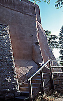 Detail of stairs and adobe exterior wall, Mission San Miguel, Santa Fe, New Mexico
