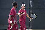 April 23, 2015; San Diego, CA, USA; Loyola Marymount Lions tennis players Charles Boyce (left) and Cristobal Rivera (right) during the WCC Tennis Championships at Barnes Tennis Center.