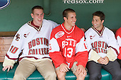 Jimmy Hayes (Boston College - player), Nick Bonino (Boston University - Alternate Captain), and Joe Whitney (Boston College - player) in the Red Sox dugout. - A press conference hosted by the Hockey East Association, the Boston Red Sox and Fenway Sports Group was held on Thursday, August 20, 2009, at Fenway Park in Boston, MA, to announce that there would be a Hockey East college hockey doubleheader on Friday, January 8, 2010, held on the ice that will be used for the January 1, 2010 NHL Winter Classic.  The afternoon (4:00 pm EST) match will be between the Northeastern University Huskies (home team) and University of New Hampshire Wildcats women's teams while the evening (7:30 pm EST) match will be between the Boston College Eagles (home team) and the Boston University Terriers men's teams.