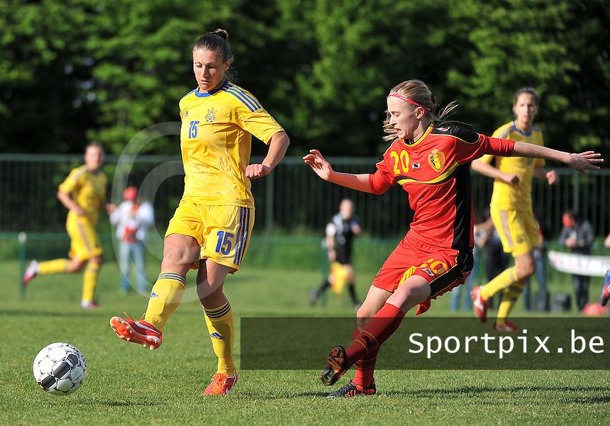 Belgium - Ukraine : Iya Andrushchak aan de bal voor Julie Biesmans (r)<br /> foto DAVID CATRY / Nikonpro.be