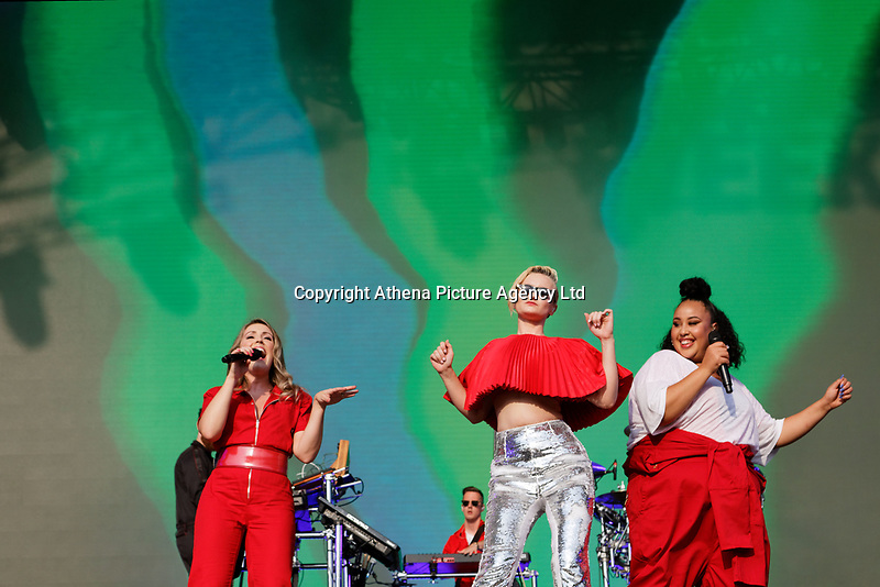 Pictured: (L-R) Kirsten Joy, Grace Chatto and Nikki Cislyn of Clean Bandit. Saturday 26 May 2018<br /> Re: BBC Radio 1 Biggest Weekend at Singleton Park in Swansea, Wales, UK.