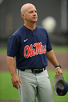 NWA Democrat-Gazette/ANDY SHUPE<br /> Ole Miss coach Mike Bianco watches Friday, June 7, 2019, during practice in The Fowler Family Baseball and Track Training Center ahead of today's NCAA Super Regional game at Baum-Walker Stadium in Fayetteville. Visit nwadg.com/photos to see more photographs from the practices.