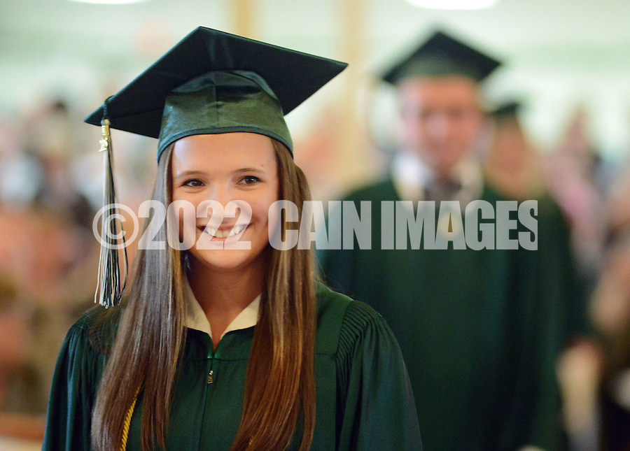 Jenice Rae Swartley marches in the opening processional during the Christopher Dock Mennonite High School 60th Commencement ceremony Saturday June 6, 2015 in Towamencin, Pennsylvania.  (Photo by William Thomas Cain/Cain Images)