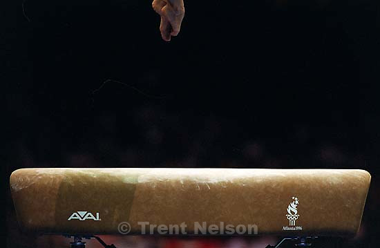 Feet over vault at Womens Team Gymnastics at the 1996 Summer Olympic Games<br />